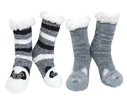 2paia Calze da Pantofole Donna Antiscivolo Termiche Calzini Donna Divertenti Fantasia Invernali Calze Modello Animale per Natale Capodanno Regalo