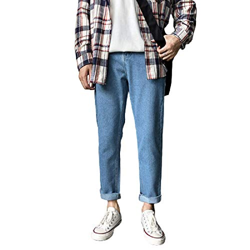 Pantalones Vaqueros de algodón para Hombre Pantalones Lisos de Pierna Recta para Trabajo Pesado Jean con Lavado de Mezclilla Clásico de Nueve centavos Port Feng Shui Pantalones de Ocio Ajustados 29