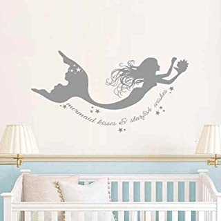 DIGGOO Mermaid Kisses & Starfish Wishes Wall Decal Mermaid Starfish Beach Ocean Wall Decor for Girls Nursery Bedroom