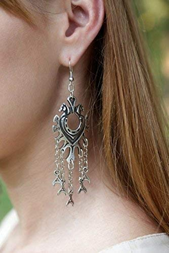 Statement Horseshoe earrings in Celtic Scandinavian Nordic Viking medieval style with pendants FREE SHIPPING