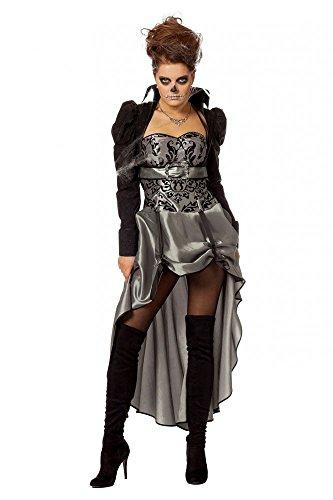 shoperama Viktorianische Lady Schwarz/Silber Damen Kostüm Kleid Barock Halloween Vampir, Größe:36