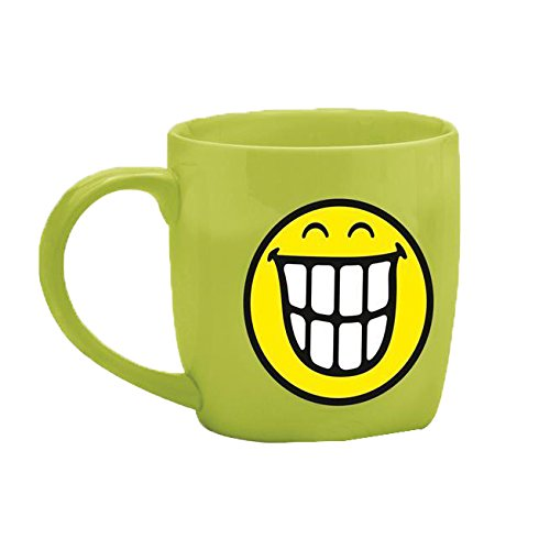 zak! Tee-Tasse Smiley-Zähne 350ml in grün, Porzellan, 8.5 x 12.5 x 10 cm