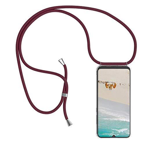 Mkej Trendige Handykette kompatibel mit Xiaomi Redmi 6A Handyhülle, Durchsichtig TPU Silikon Smartphone Necklace Hülle Band zum Umhängen mit Kordel in Umhängeband - Jujube rot