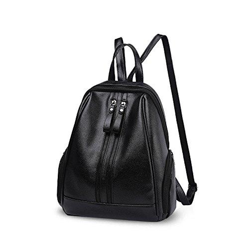 NICOLE&DORIS Fashion Schultasche Travel Umhängetasche Rucksack Daypack Geldbörse Satchel Mädchen Rucksack PU Leder Schwarz