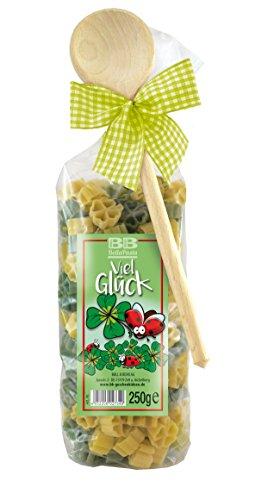 Pasta Präsent Glück mit bunten Glückskleenudeln handgefertigt in deutscher Manufaktur