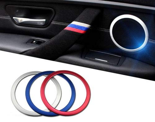 Compatible With 2014-2018 BMW F15 X5 /& 2015-2019 BMW F16 X6 iJDMTOY Set of 4 Red Side Door Panel Speaker Decoration Ring Cover Trims