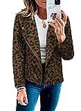 Chaqueta de manga larga con cremallera para mujer, estampado de leopardo, chaqueta de motociclista de gran tamaño