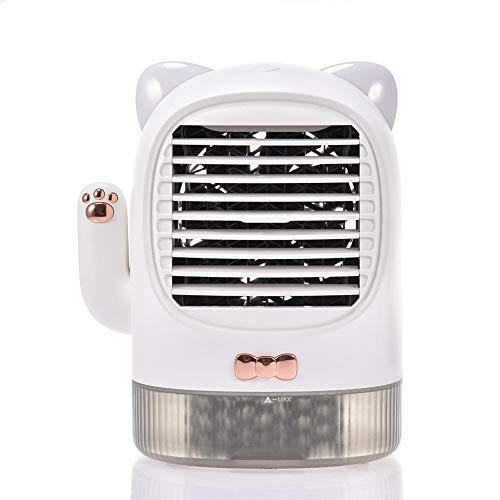 Riosupply 2020 Lucky Cat - Enfriador de aire portátil con carga USB, ventilador de escritorio, humidificador con luz nocturna, para casa o oficina, caja de aromaterapia, regalo de verano