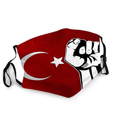 Wiederverwendbarer Gesichtsschutz Mundschutz Türkische Flagge und Faust Protest