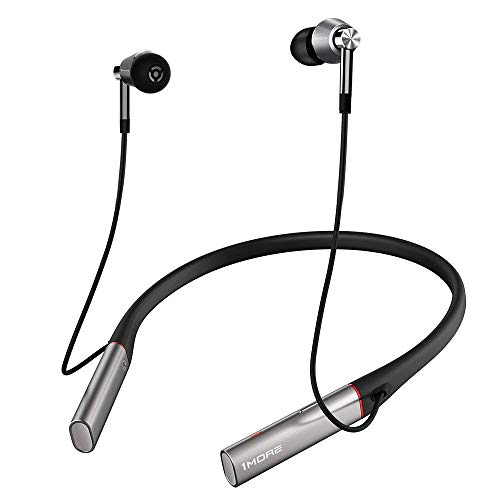 1MORE Bluetooth Kabellose Kopfhörer, Dreifacher Treiber Ohrhörer mit Hi-Res LDAC Klangqualität, Mikrofon mit Umgebungsgeräusch Isolierung, schnelle Ladung, Lautstärkeregler Funktion E1001BT-Sliber.
