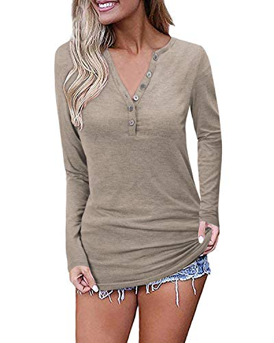 OUGES Womens Long Sleeve V-Neck Button Causal Tops Blouse T Shirt(Coffee,S)