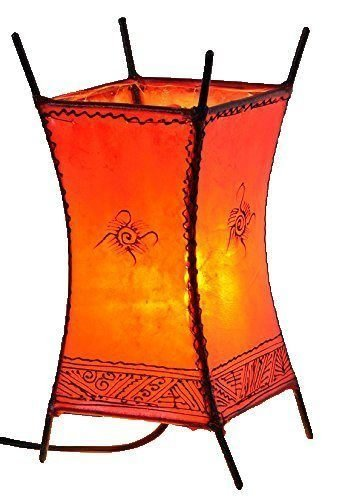 Orientalische Lampe Stehlampe marokkanische Hennalampe Lederlampe Tischleuchte Stehleuchte Orient Carree Sonne 30 cm Color Rot