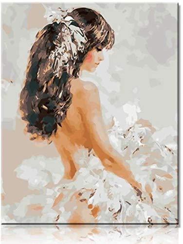 ZXlDXF Pintura al óleo por números – Belleza en blanco para adultos, pintura digital, obras dibujadas por adultos niños y principiantes en lienzo preimpreso, 40 x 50 cm (sin marco)