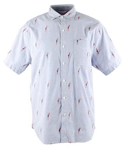 Tommy Bahama Embroidered Parrot Mamba Camp Shirt (Color: Billfish, Size XXL)