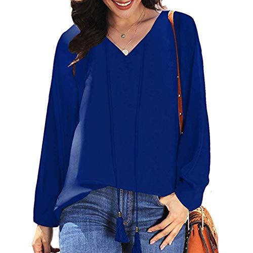 aihihe Chiffon Blouses for Women Long Sleeve V Neck The Office Formal Casual Loose Shirt Blouse Tunic Blue