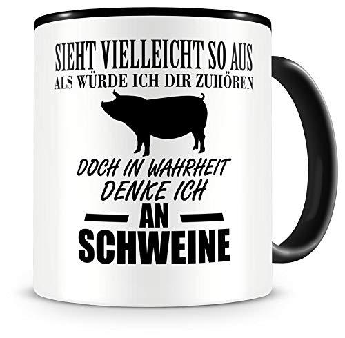 Samunshi® Ich denke an Schweine Tiere Tasse Kaffeetasse Teetasse Kaffeepott Kaffeebecher Becher