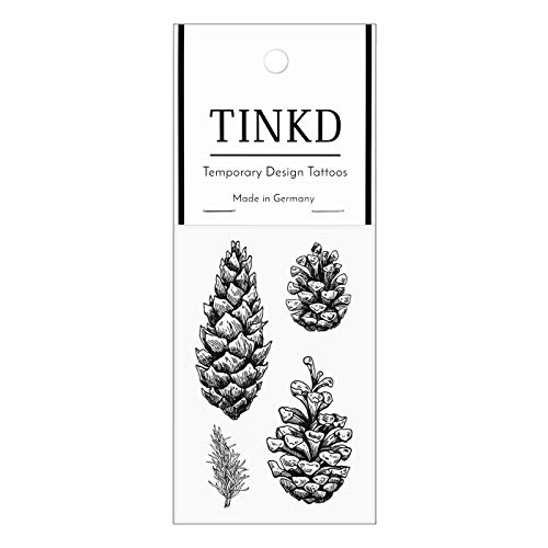 TINKD Tattoos zum Abziehen mit Tannenzapfen in Schwarz - Made in Germany