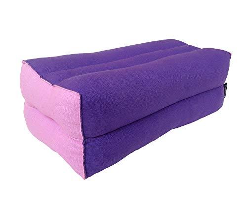 Collumino® - Cuscino per meditazione tradizionale thailandese Kapok yoga, 35 x 15 cm (viola, rosa)