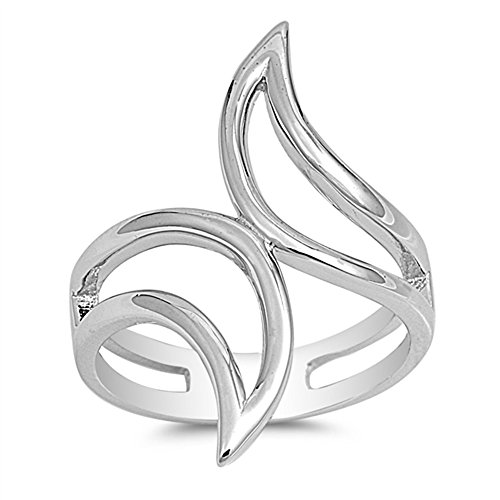 CloseoutWarehouse Sterling Silver Twin Flame Design Ring Size 8
