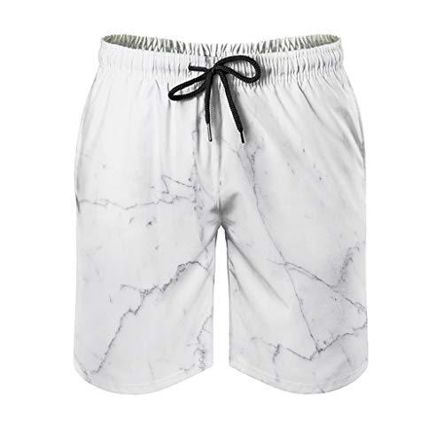 Uomo Marmo Texture Pantaloni corti Classic Fit - Pantaloncini stile moderno bianco L