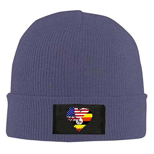XCNGG Gorro Jersey de Lana Unisex Women Men Uganda American Heart Flag Knit Cap,Soft Warm Snow Ski Caps
