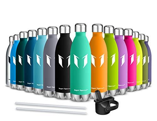 Super Sparrow Trinkflasche/Wasserflasche Doppelwandig Vakuum Isoliert Edelstahl - 750ml - Auslaufsicher Sport Trinkflaschen | Ideale Flasche - BPA-freie Sportkappe mit Standardkappe