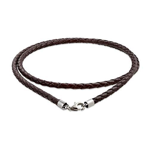 Bling Jewelry Cuero Negro Auténtico Tejido Trenzado Cable Collar Mujer Y Hombre Adolescente Broche Garra Langosta Chapado Plata