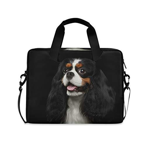 HMZXZ Funda para ordenador portátil de 13 a 14 y 15,6 pulgadas, diseño de perro con estampado de animales, color negro