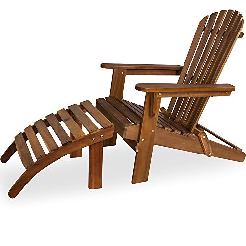 Deuba Sonnenstuhl Adirondack Akazien Holz mit Fußstütze klappbar Armlehnen Deckchair Liegestuhl Holzstuhl Gartenstuhl
