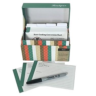 91 Piece Recipe Box and Card Bundle Set - Striped. The Perfect Recipe Card Holder!
