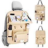 Befano Car Organizer Back Seat, Car Seatback Organizer Protector Kick Mats for Kids PU Leather Car Storage Organizer with Foldable Table Tray, Tablet Holder, Tissue Box, Multi Pockets (Beige 1Piece)
