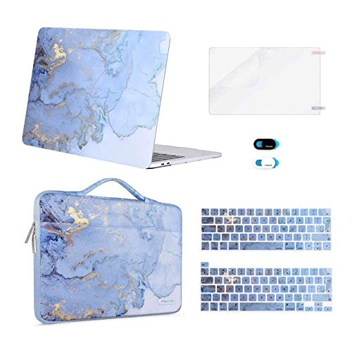 MOSISO Compatible with 2016-2020 MacBook Pro 13 inch Case A2338 M1 A2289 A2251 A2159 A1989 A1706 A1708, Plastic Watercolor Marble Hard Case&Bag&Keyboard Skin&Webcam Cover&Screen Protector, Blue