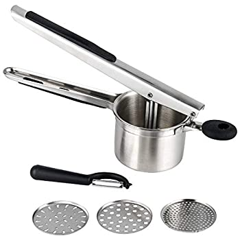 Hhyn Stainless Steel Potato Ricer and Masher Heavy Duty Large Capacity Potato Presser with 3 Interchangeable Discs Great for Smooth Creamy Mashed Potatoes Fruits Vegetables and Baby Food