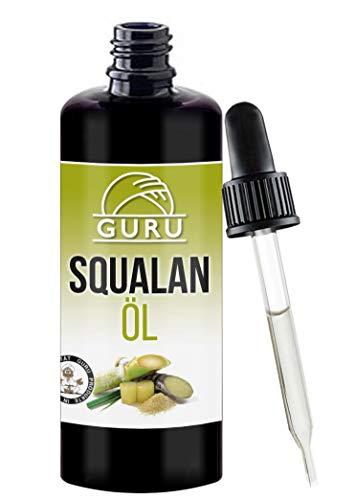 Squalan Öl Naturrein von Guru | Rein Pflanzlich | Vegan | Für Seidige Haut | Serum Arganöl Ersatz | Haaröl Pflege Gesicht | 100ml