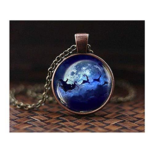 we are Forever family ChristmaBlue Mond Santa Hirsch Halskette, Weihnachts-Halskette, Weihnachts-Anhänger, Nikolaus-Kerzen-Kette, Weihnachtsschmuck, Weihnachts-Halskette, Weihnachts-Anhänger