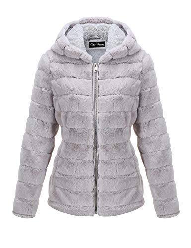 Giolshon Damen Faux Shearling Jacke mit Kapuze, Shaggy Coat 1801 Grau M