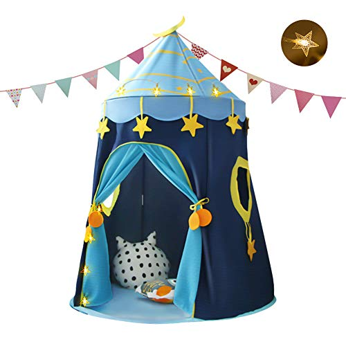 Achort Tienda de Campaña Infantil Carpa Infantil Plegable Casa de Juegos para Interiores y Exteriores Mongolian Pop-up Portátil Tienda con Luces de Estrellas Banderas de coloresBolsa de Transp