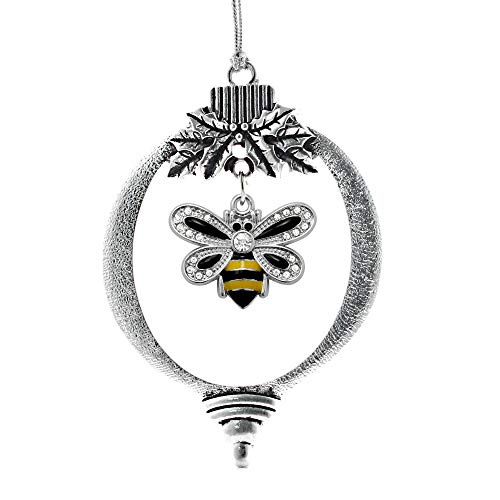 Inspired Silver - 1.0 Carat Bumble Bee Charm Ornament - Silver Customized Charm Holiday Ornaments with Cubic Zirconia Jewelry