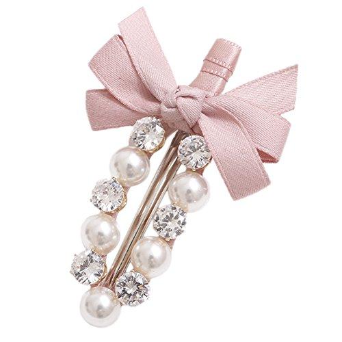 Milopon Pinces à Cheveux Forme de Bowknot avec Strass Charme Coiffure Accessoires Pour Femme Fille Cadeau Anniversaire Rose