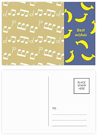 White Music Notes Licht Geel Banaan Postkaart Set Thanks Card Mailing Side 20 stks