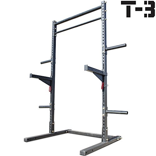Titan T-3 Squat Rack w/Safely Spotter Arms Weight Lift Stand Strength Pull Up