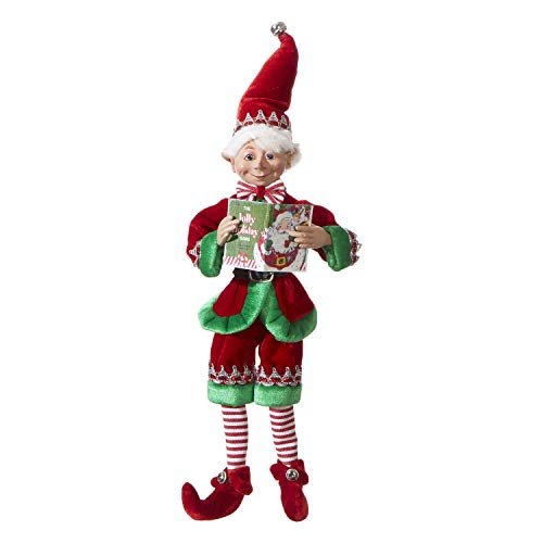 RAZ Imports Posable Christmas Elf, 16' Tall, Red and Green Velvet Outfit with Santa Book, 2019 Reindeer Games Holiday Collection