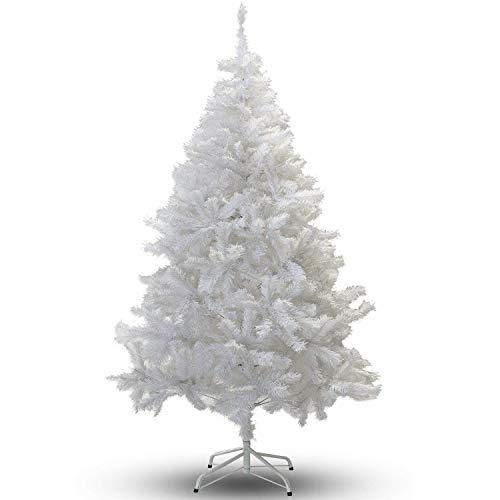 Hengda Árbol de Navidad Artificial PVC 180 cm H, 650 Ramas, Metal, Blanco Soporte metálico Decoración Navideña