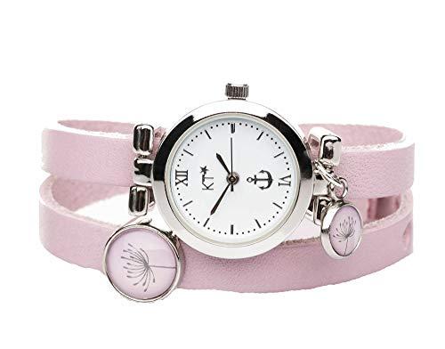 KT-Schmuckdesign Lederarmband Uhr in rosa mit Schiebeperlen und Pusteblume-Motiv, Edelstahluhr mit versilbertem Gehäuse, Länge 42 cm, Breite 8 mm