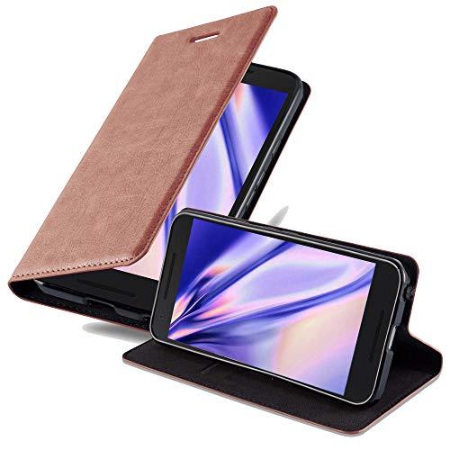 Cadorabo Hülle für LG Nexus 5X - Hülle in Cappuccino BRAUN – Handyhülle mit Magnetverschluss, Standfunktion & Kartenfach - Case Cover Schutzhülle Etui Tasche Book Klapp Style