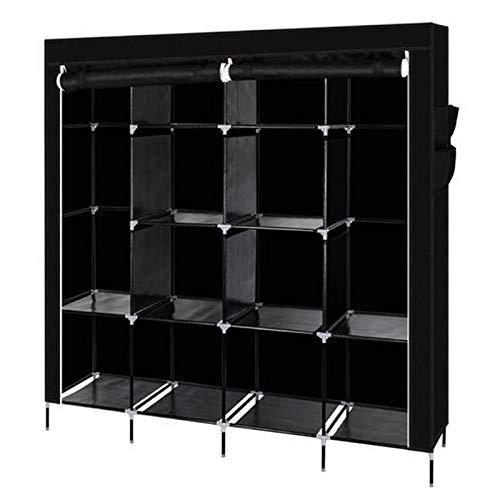 Armario de ropa, armario, portátil, 12 estantes, plegable, guardarropa, dormitorio, estudio, estable, organizador de almacenamiento de ropa (negro, 64 pulgadas)