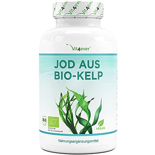Bio Kelp (Natürliches Jod) - 365 Tabletten mit je 200µg Jod aus Bio-Braunalgen - Laborgeprüft - Ohne unerwünschte Zusätze - Hochdosiert - Vegan