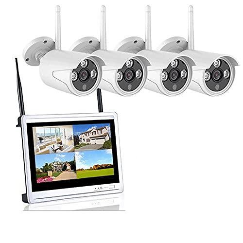 Cámara Vigilancia Exterior Sistema De Seguridad Inalámbrica 4CH Con 12 Pulgadas De Monitor LCD, Cámara Tipo Bala 4 * 1080P, Kit De Cámara CCTV IP WiFi NVR, Disco Duro De 1TB