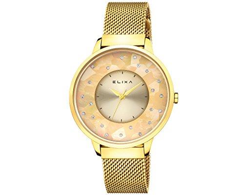 Elixa e117-l475Damen-Armbanduhr Ohrringe goldfarben Kristall akzentuierten goldfarbenen Mesh Band