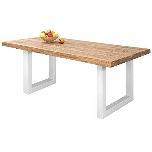 COMIFORT Mesa de Comedor - Mueble para Salon Oficina Despacho Robusto y Moderno de Roble Macizo Color Ahumado, Patas de Acero U-Forma Blancas (200x100 cm)